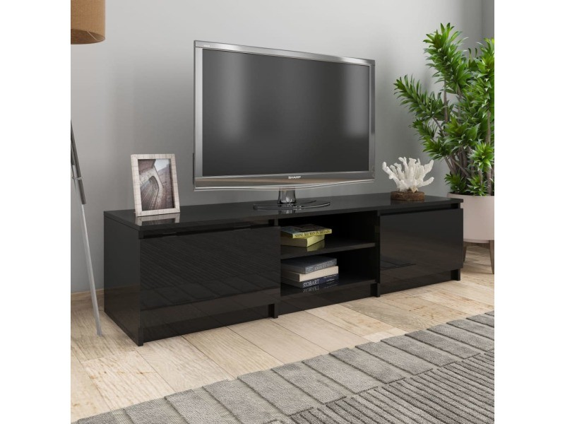 splendide meubles categorie nuku alofa meuble tv noir brillant 140x40x35 5 cm agglomere
