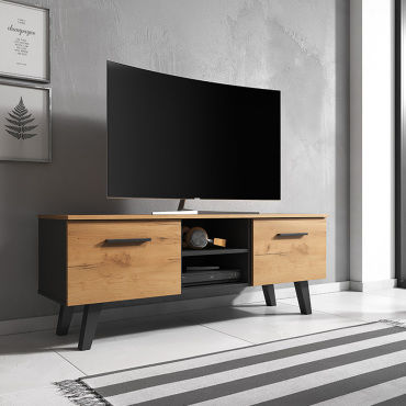 meuble tv banc tv pirphal 140 cm noir mat chene craft or r98412279