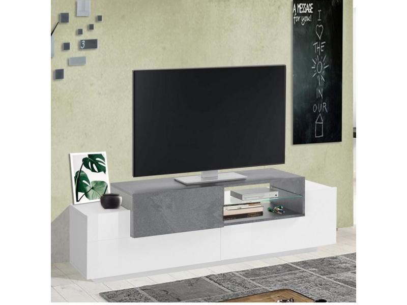 meuble tv bi color design coro 160 cm laque blanc brillant bois gris ardoise