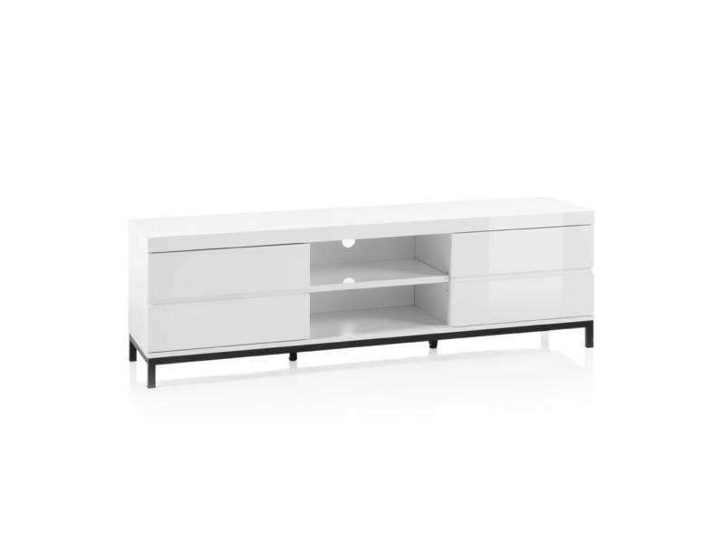 meuble tv en laque blanc brillant avec pietement en metal laque noir l165 x h50 x p40 cm pegane