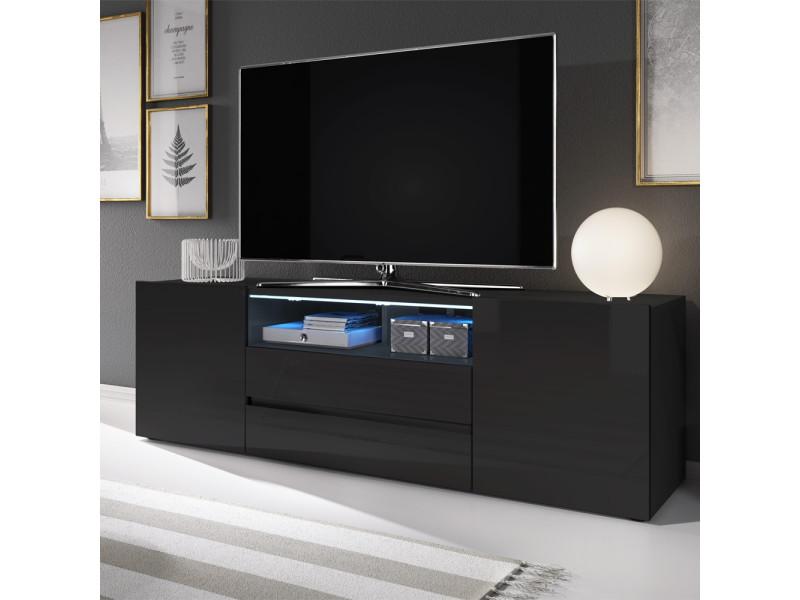 meuble tv meuble de salon bros 140 cm noir mat noir brillant avec led