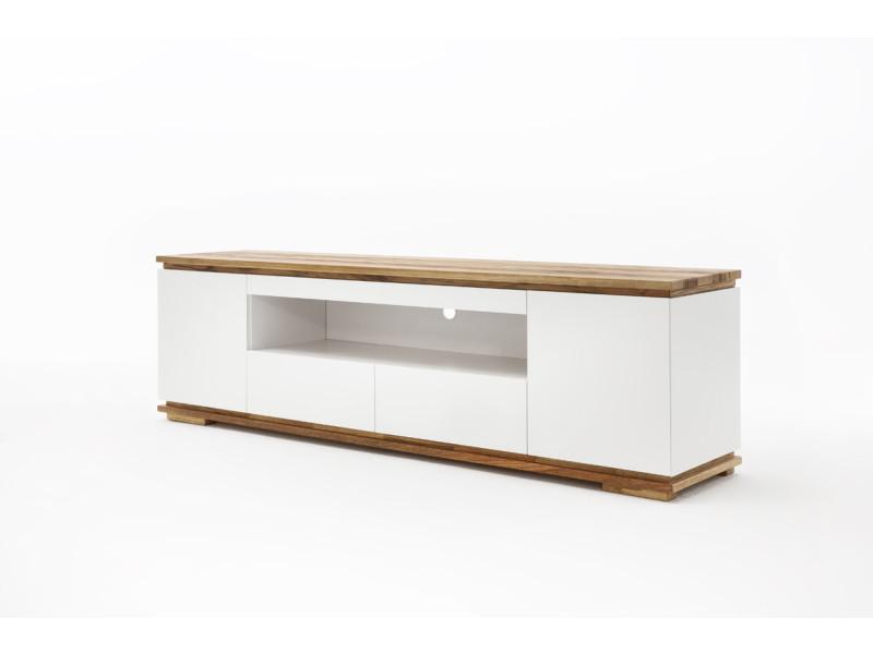 meuble tv en laque blanc mat l202 x h54 x p40 cm pegane