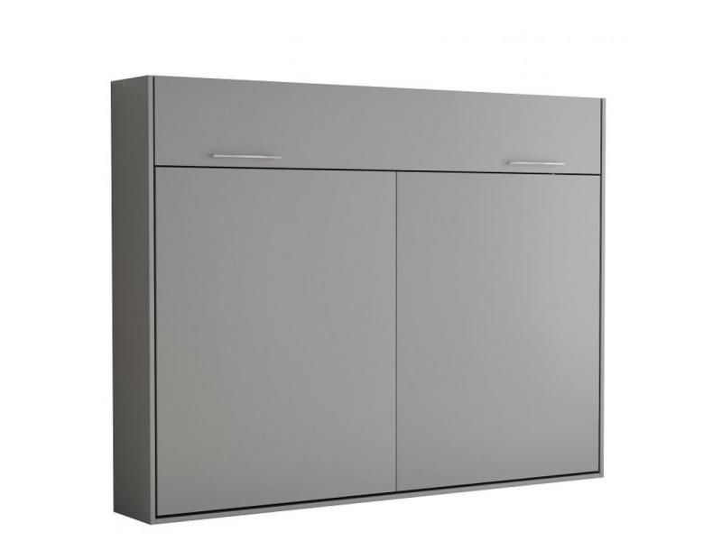 armoire lit escamotable vertigo gris mat couchage 140 200 cm