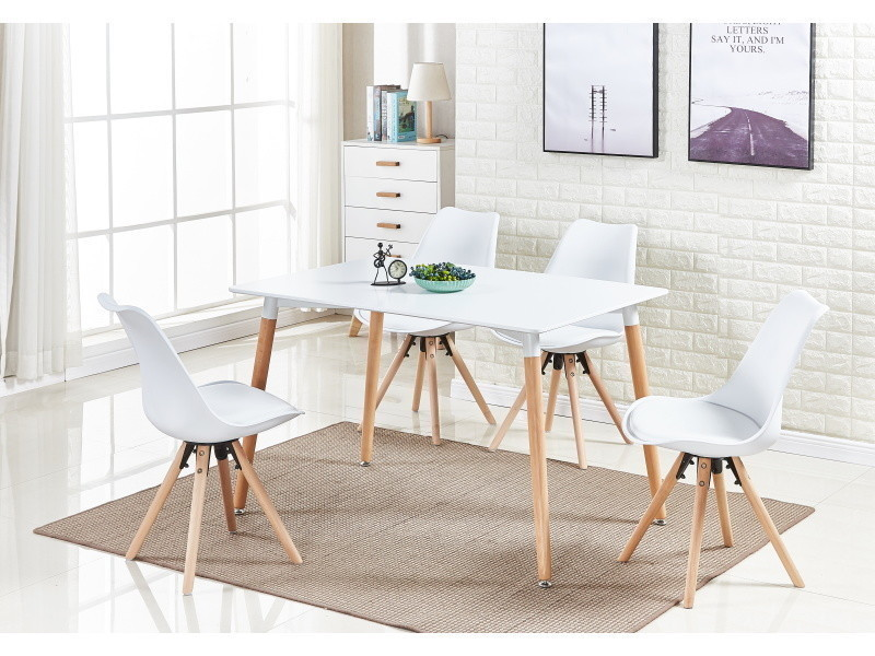 table blanche et 4 chaises blanches scandinaves sophie halo