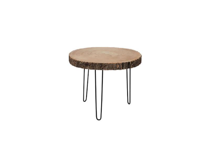 table d appoint ronde metal rondin de bois lubeck n 1 l 50 x l 50 x h 40 neuf