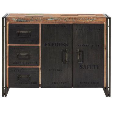buffet en bois 2 portes 3 tiroirs industry l 120 x l 45 x h 90 neuf w85370260