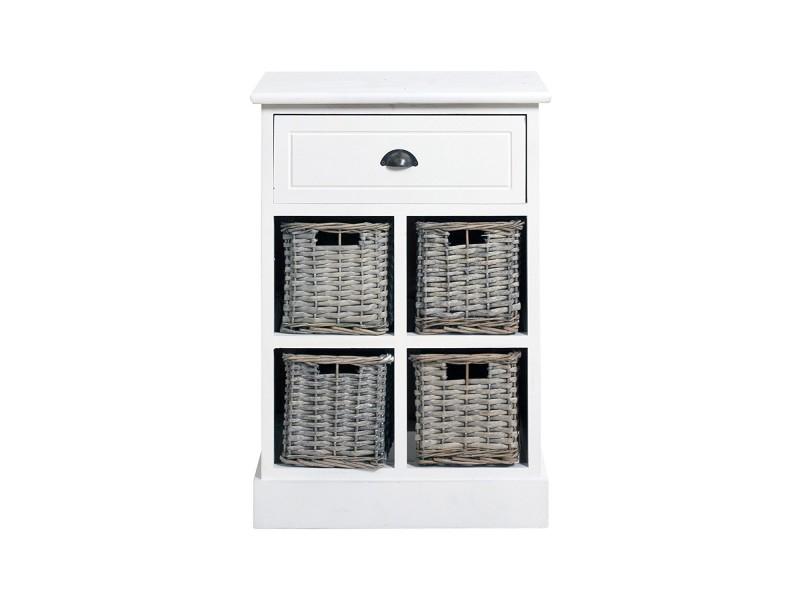 Commode salle de bain meuble de rangement 5 tiroirs urban bois osier blanc country rustique