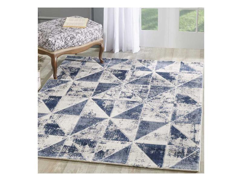 tapis design et moderne 120x160 cm rectangulaire hy volitro bleu salon adapte au chauffage par le sol