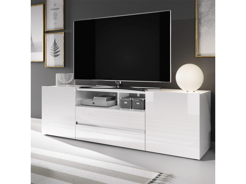 meuble tv meuble de salon bros 140 cm blanc mat blanc brillant sans led
