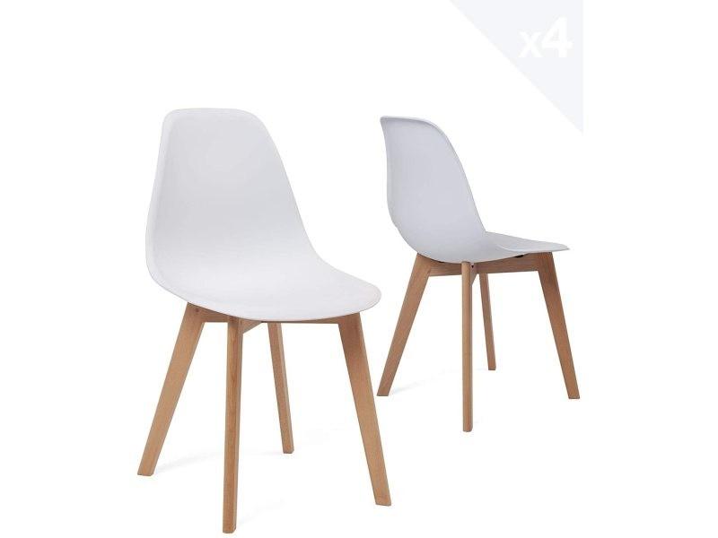 lot de 4 chaises de cuisine style scandinave nao blanc