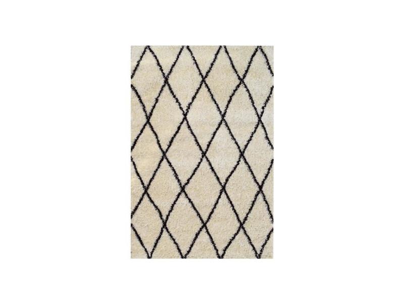 asma tapis de salon shaggy berbere 100 polypropylene 160x230 cm blanc creme