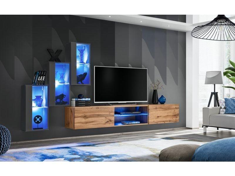ensemble meuble tv mural switch xxii l 240 x p 40 x h 170 cm gris et marron