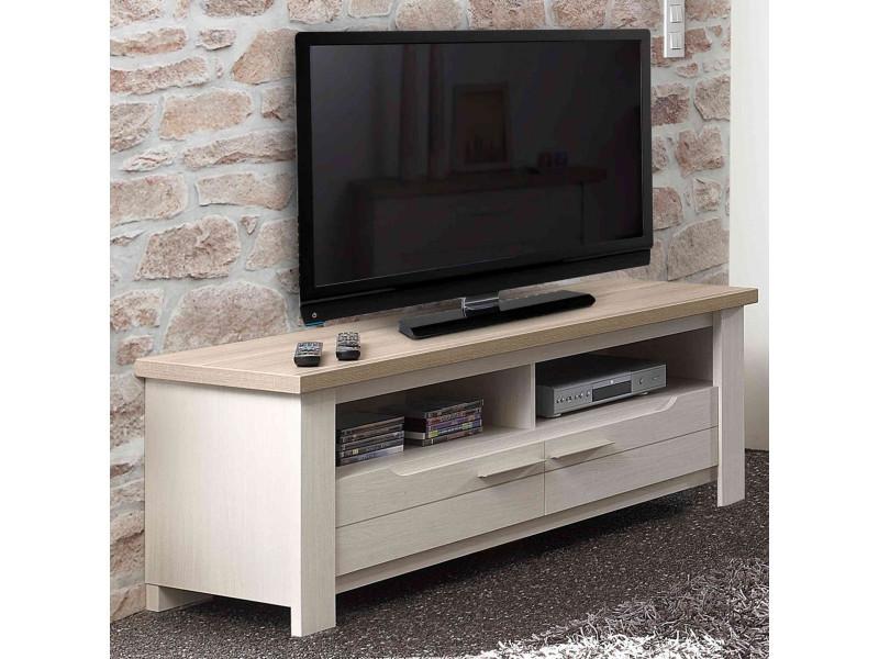 meuble tv en bois imitation frene blanchi tv1003