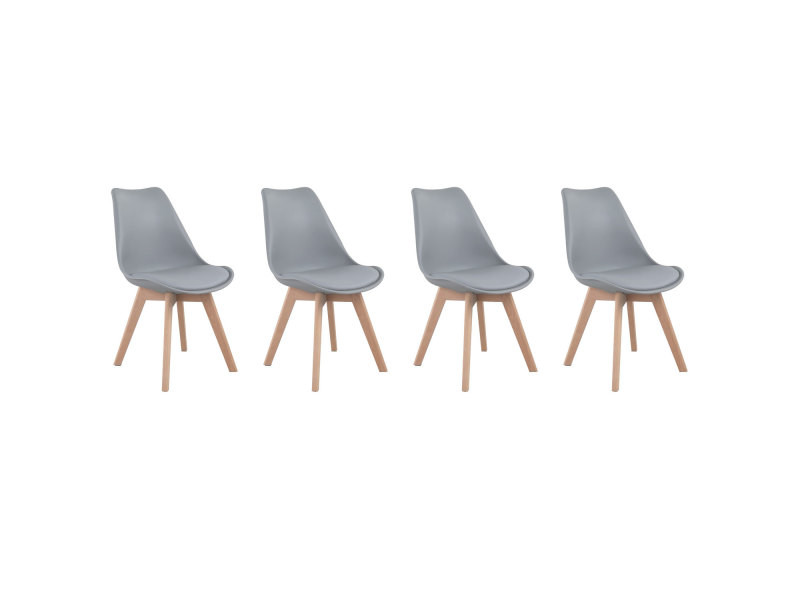 lot de 4 chaises scandinaves nora grises avec coussin