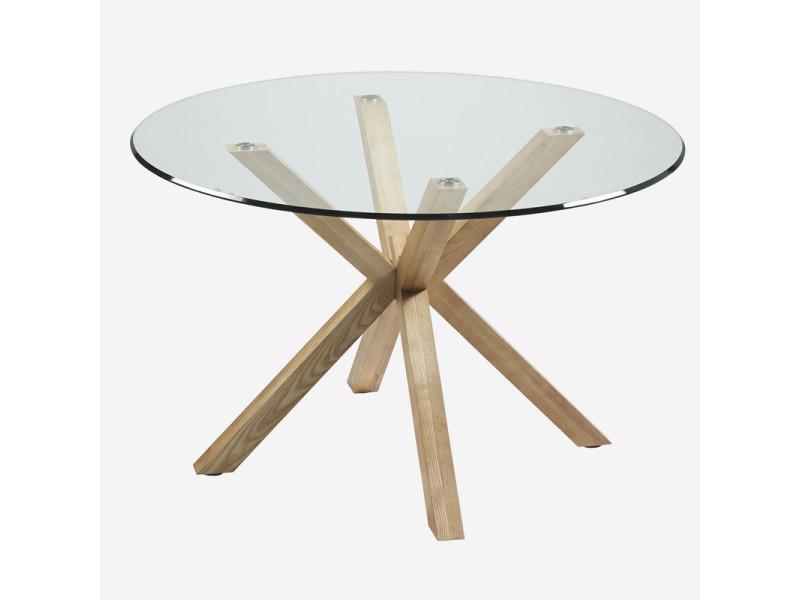table de repas ronde verre bois naturel lapaz l 120 x l 120 x h 75 neuf
