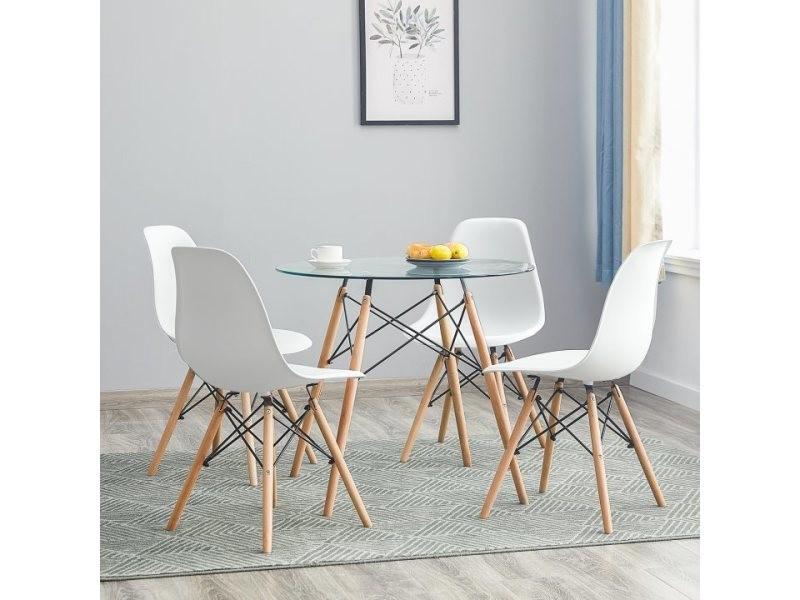 lot de 4 chaises design scandinave blanches
