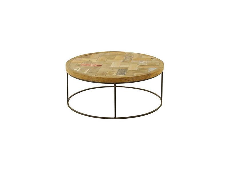 table basse ronde 80 cm en bois massif recycle et metal