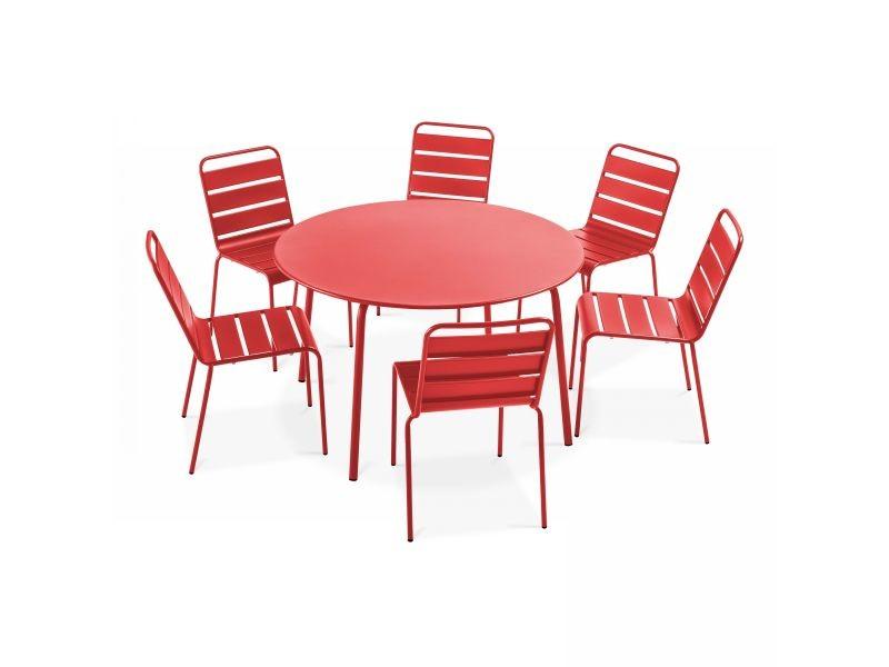 table de jardin ronde et 6 chaises en