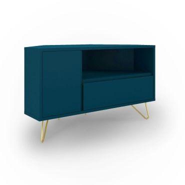 meuble tv d angle bleu canard darina