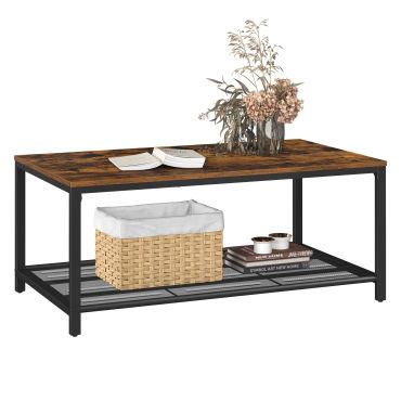 table basse table de salon avec etagere en maille large espace de rangement montage facile stable style industriel marron rustique