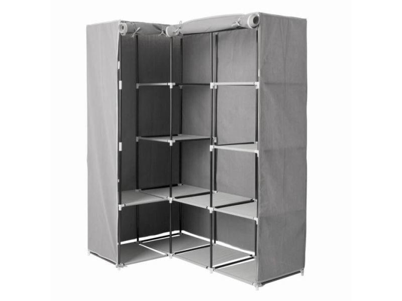 armoire d angle 1 penderie et 10 etages 131 x 87 5 x 169 cm polypropylene et metal