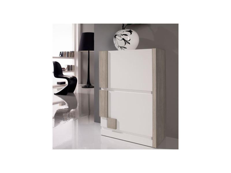 meuble a chaussures blanc chene clair louba l 60 x l 31 6 x h 87 3 neuf