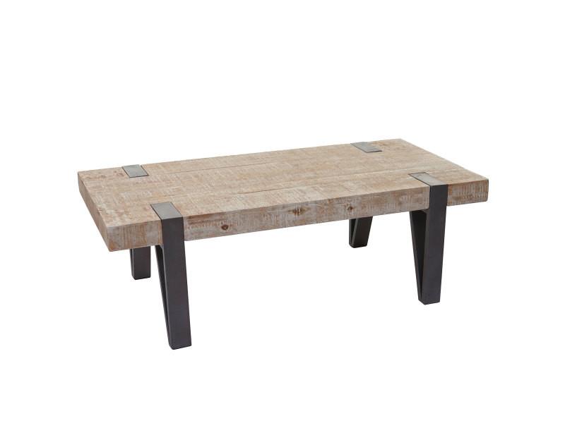 table basse de salon hwc a15b sapin bois massif rustique 40x120x60cm