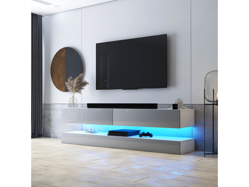 meuble tv suspendu hylia 140 cm blanc mat gris brillant avec led style moderne