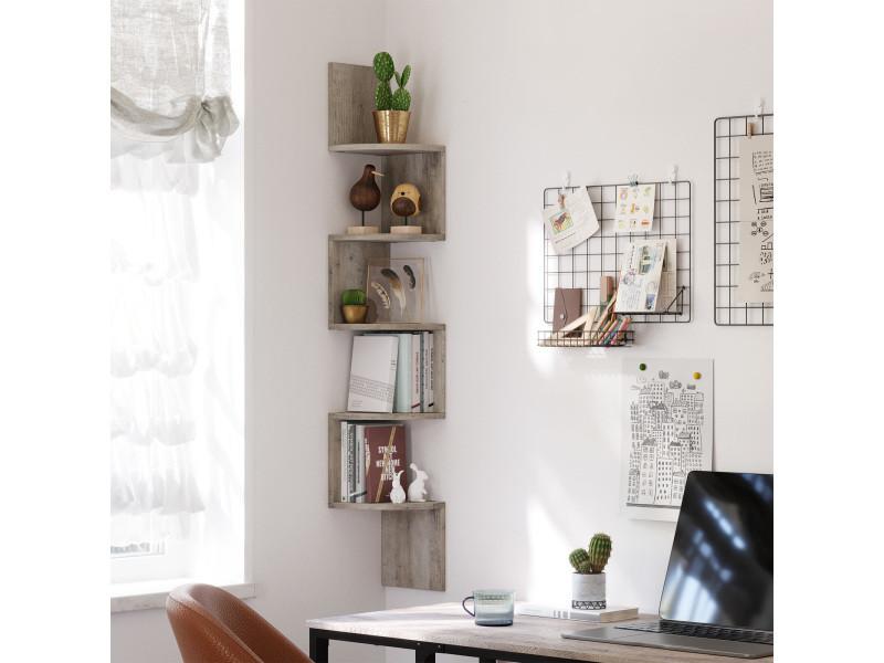 vasagle etagere murale d angle a 5 niveaux meuble de rangement etagere de cuisine en forme zigzag pour chambre salon bureau grege lbc020m01