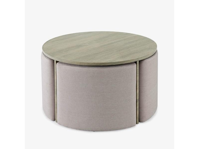 table basse ronde en bois et 4 poufs bonnie