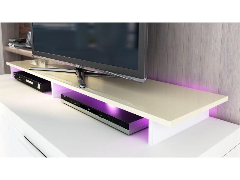 rehausseur pour meuble tv blanc et creme 139 x 10 x 35 led rgb