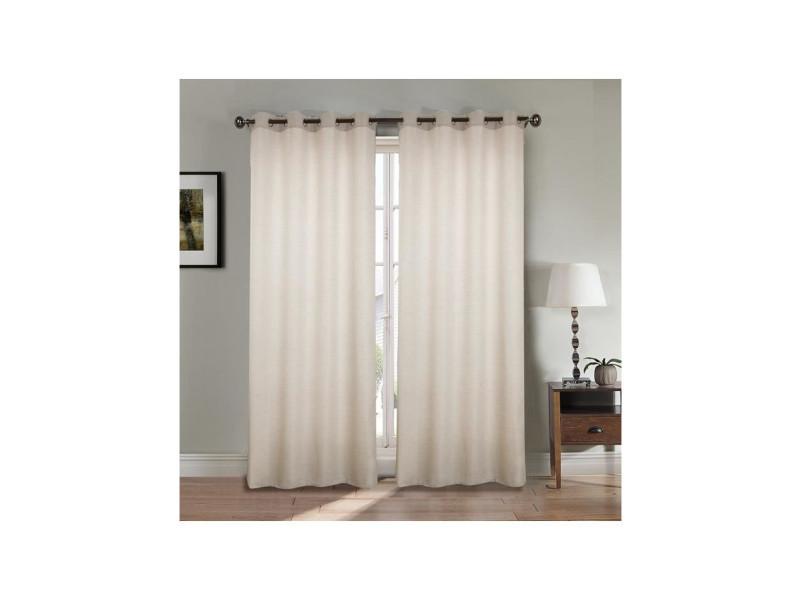 paire double rideaux 2x140x260 cm effet lin beige