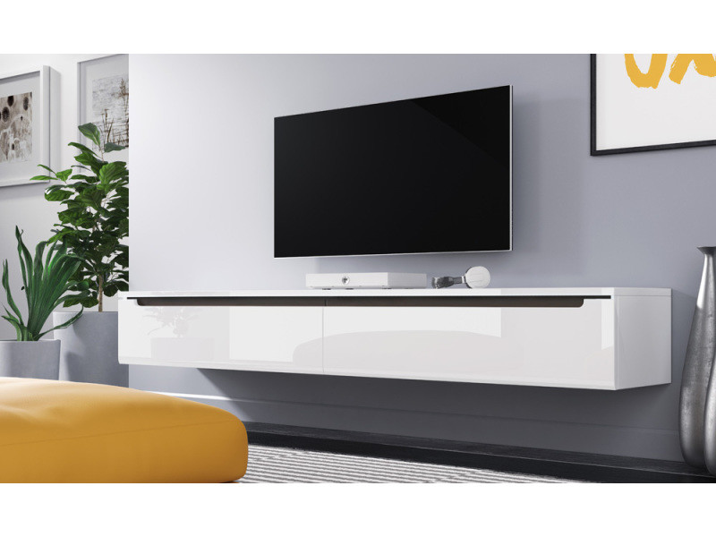meuble tv swift 180 cm blanc brillant sans led