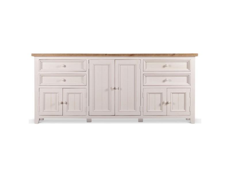 meuble bas rangement bois blanc cesure 4 tiroirs 210x45x89cm decoration d autrefois