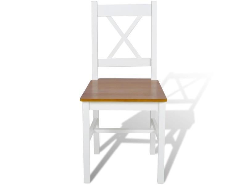 vidaxl chaises de salle a manger 4 pcs blanc bois de pin