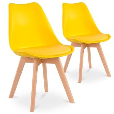 lot de 2 chaises style scandinave catherina jaune v53133600