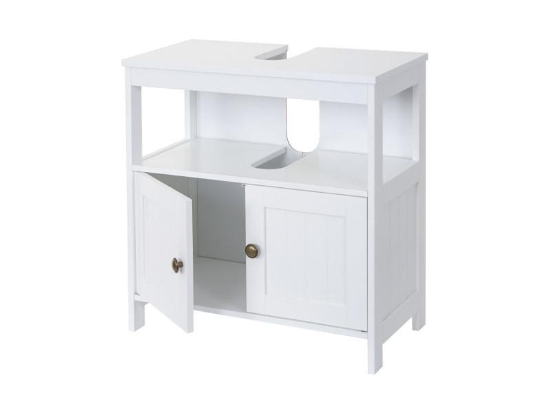 meuble de rangement sous lavabo hwc b63 salle de bain sous vasque 60x60x30 cm blanc