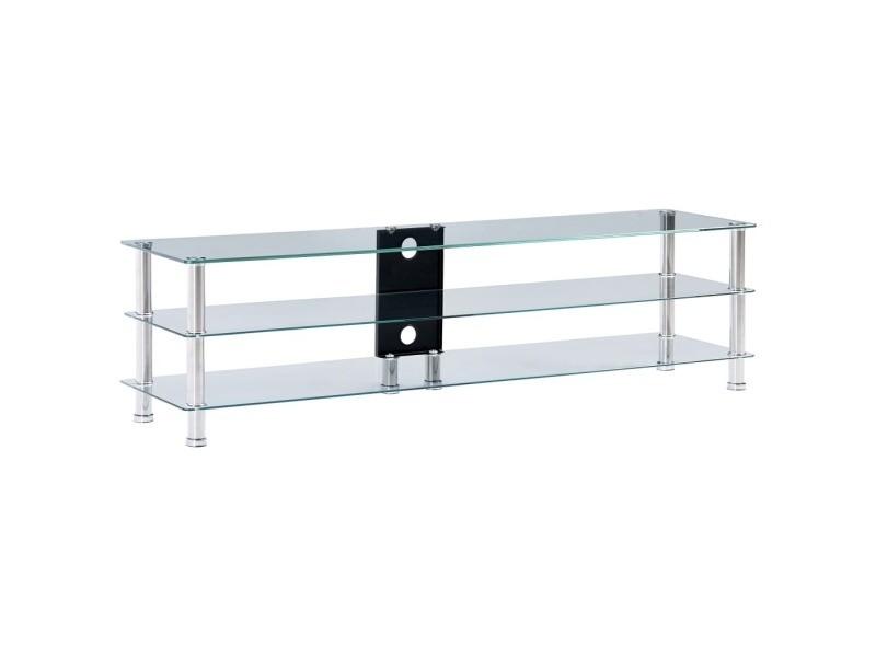 admirable meubles gamme panama meuble tv transparent 150 x 40 x 40 cm verre trempe