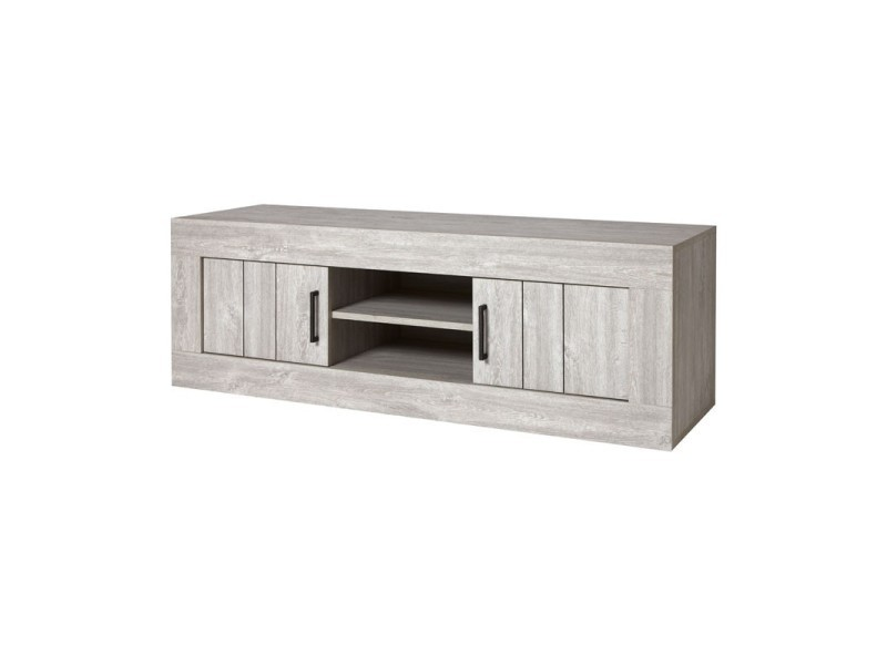 meuble tv 2 portes chene gris cendre barbade l 150 x l 48 x h 52 neuf