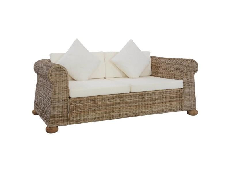inedit meubles ligne caracas canape a 2 places avec coussins rotin naturel