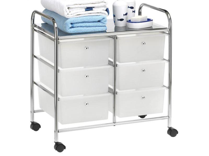 caisson sur roulettes gina chariot avec 6 tiroirs en plastique blanc transparent et 1 etagere rangement salle de bain metal chrome