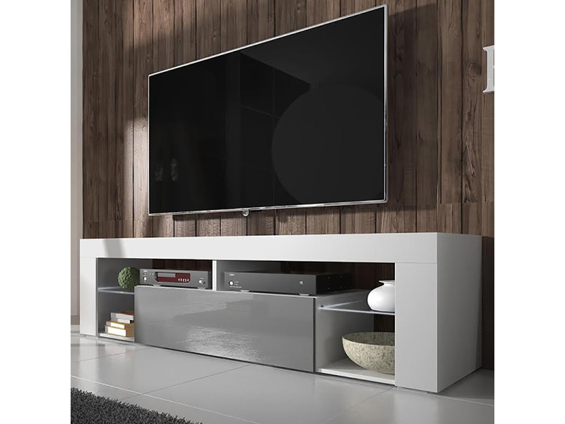 meuble tv bianko 140 cm blanc mat gris brillant
