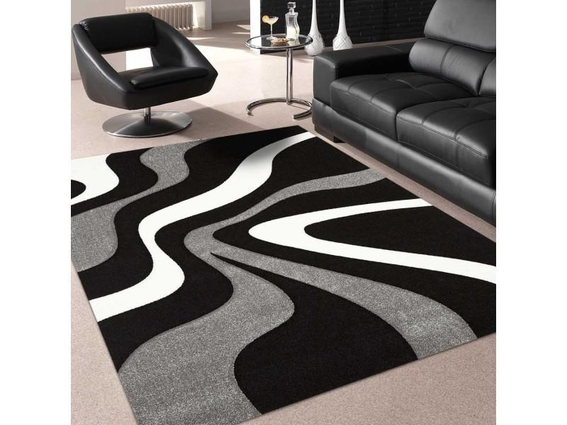 tapis tendance pour la chambre nodage noir gris blanc 80 x 150 cm