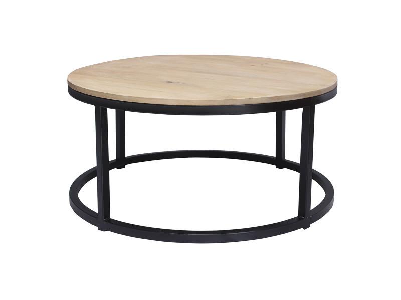 table basse ronde en manguier massif et metal noir d80 cm factory