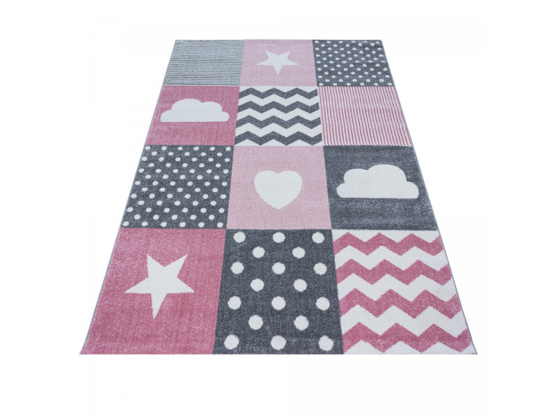 tapis pour enfant rectangle julie rose