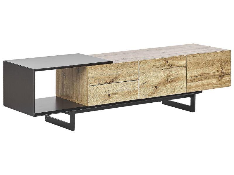 meuble tv design effet bois clair noir fiora