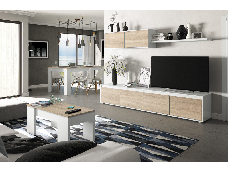 ensemble meuble tv scandinave alina blanc et bois
