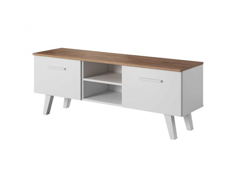nordi meuble tv style scandinave salon sejour 140x39x52 cm meuble de television avec rangements aspect bois mat blanc