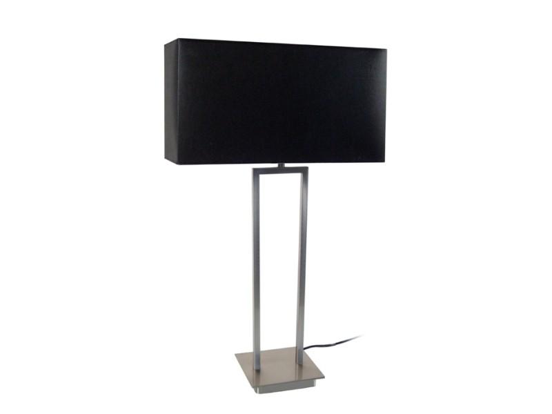 tosel tubi quadri lampe a poser acier alluminium 1xe27 abat jour rectangulaire tissu noir 40 x 62 cm noir