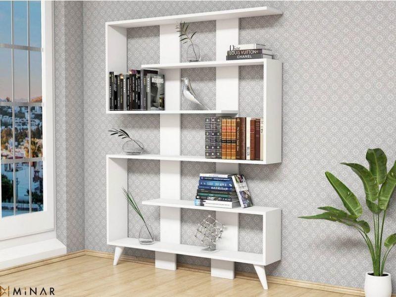 homemania bibliotheque jane avec etageres meuble de rangement pour salon bureau blanc en bois 120 x 22 x 164 cm
